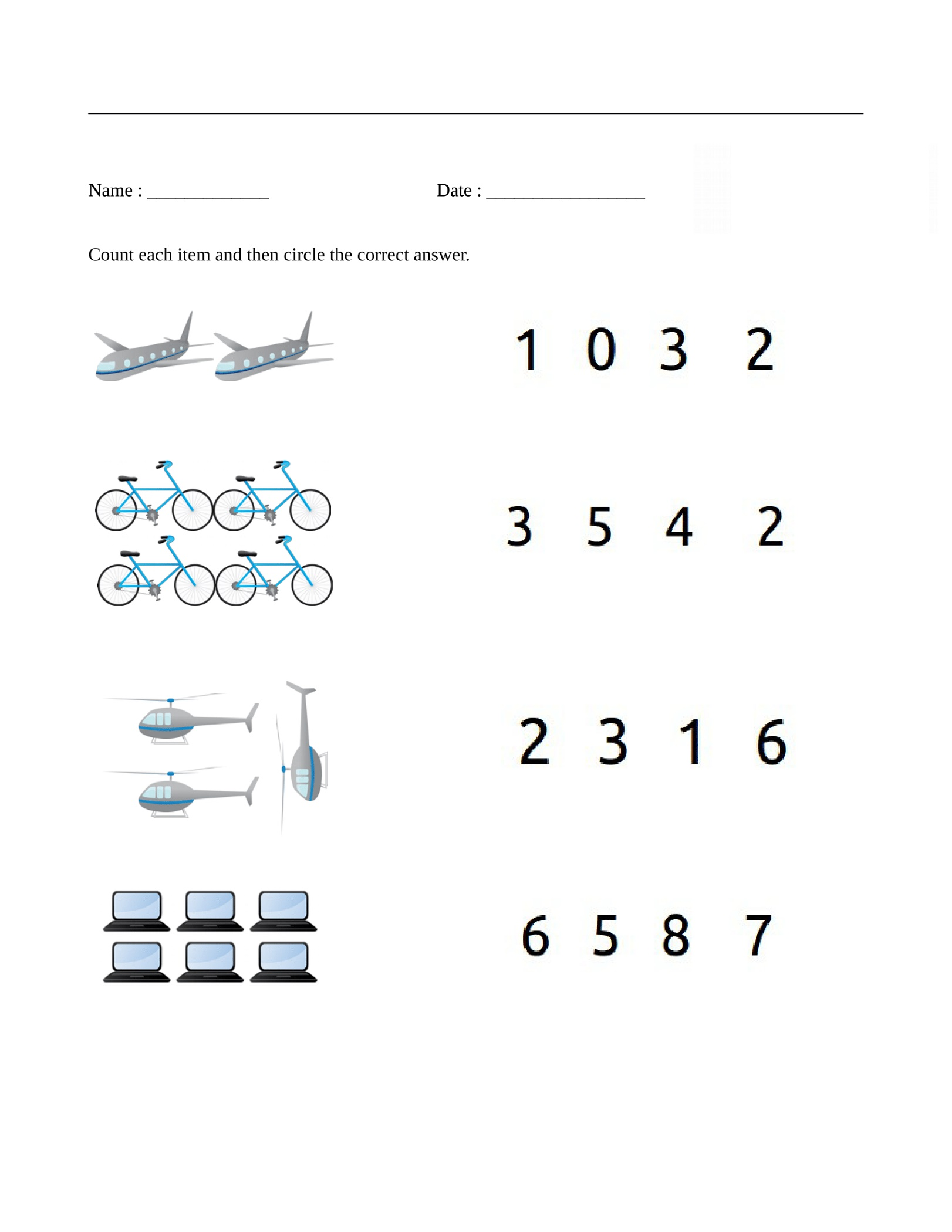 Beginning Math Worksheets Counting