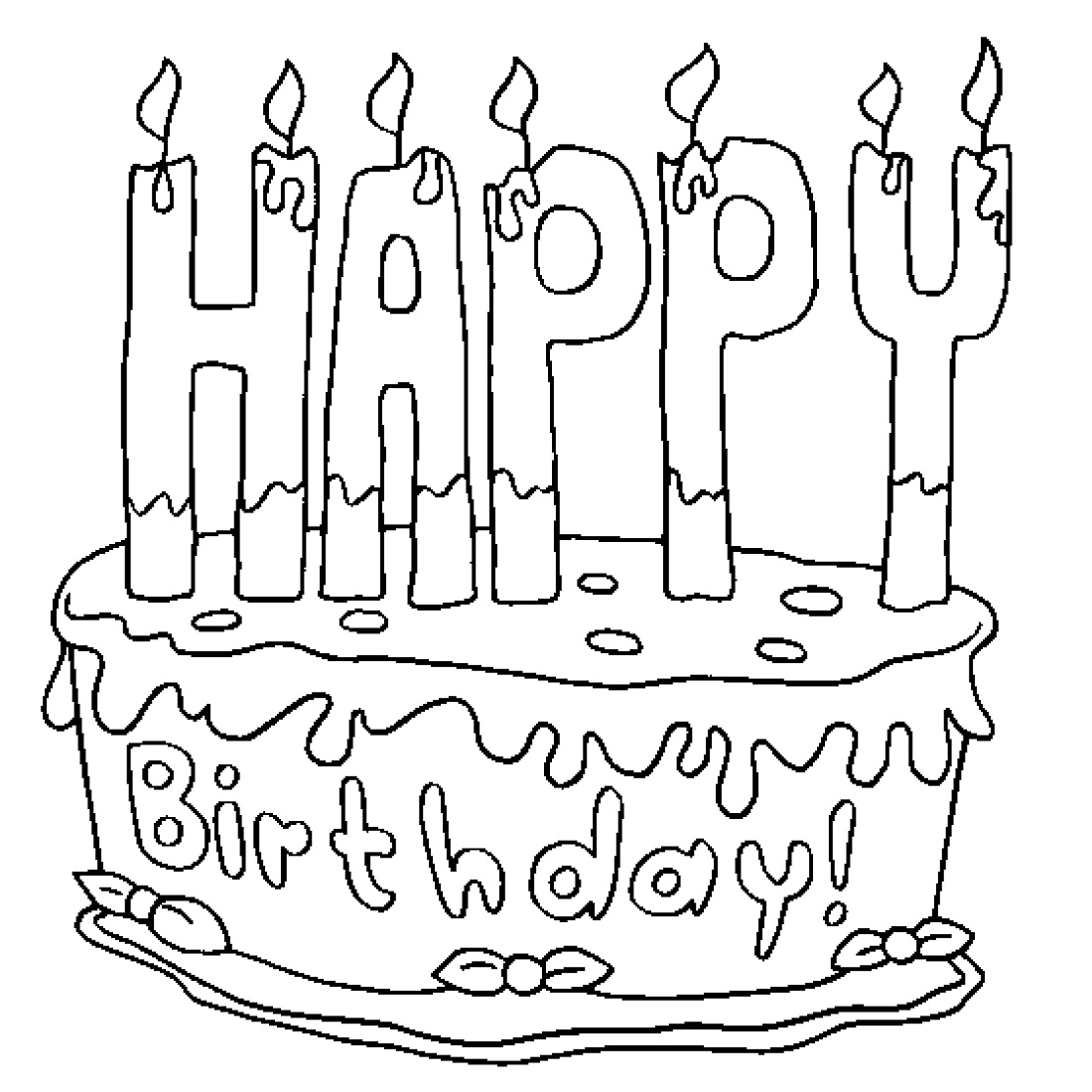 Birthday Cake Coloring Page Pictures