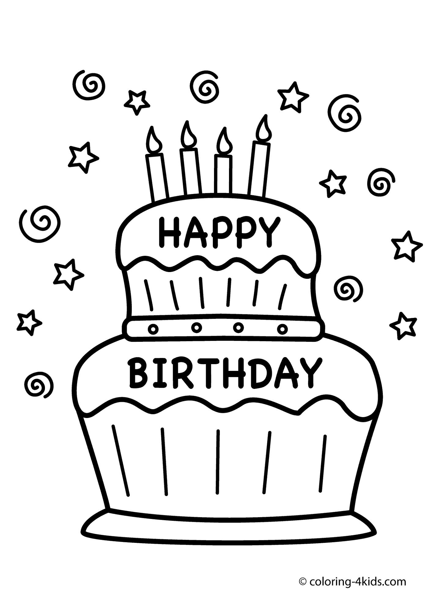 Birthday Cake Coloring Page To Print