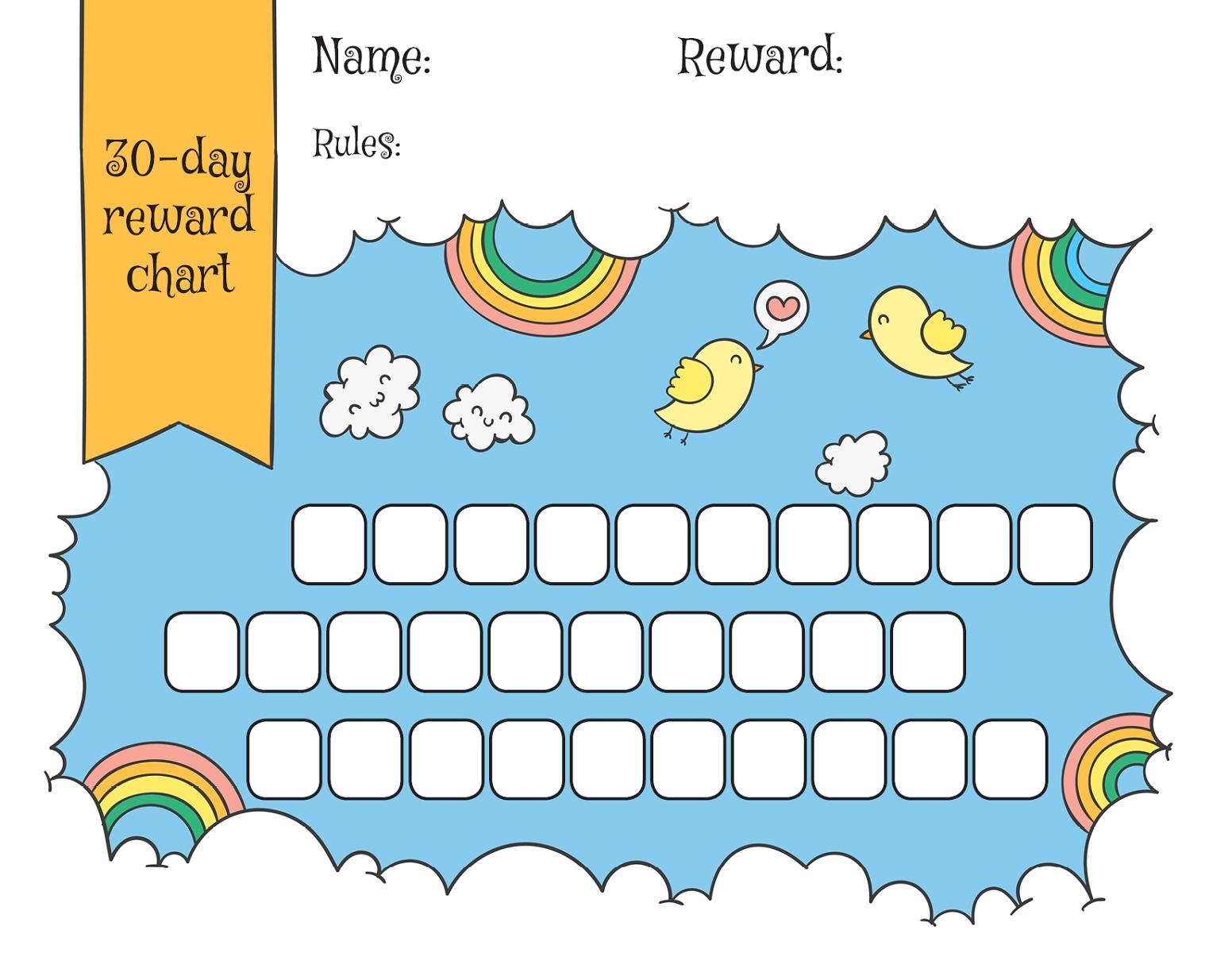 Childrens Reward Chart Rainbow