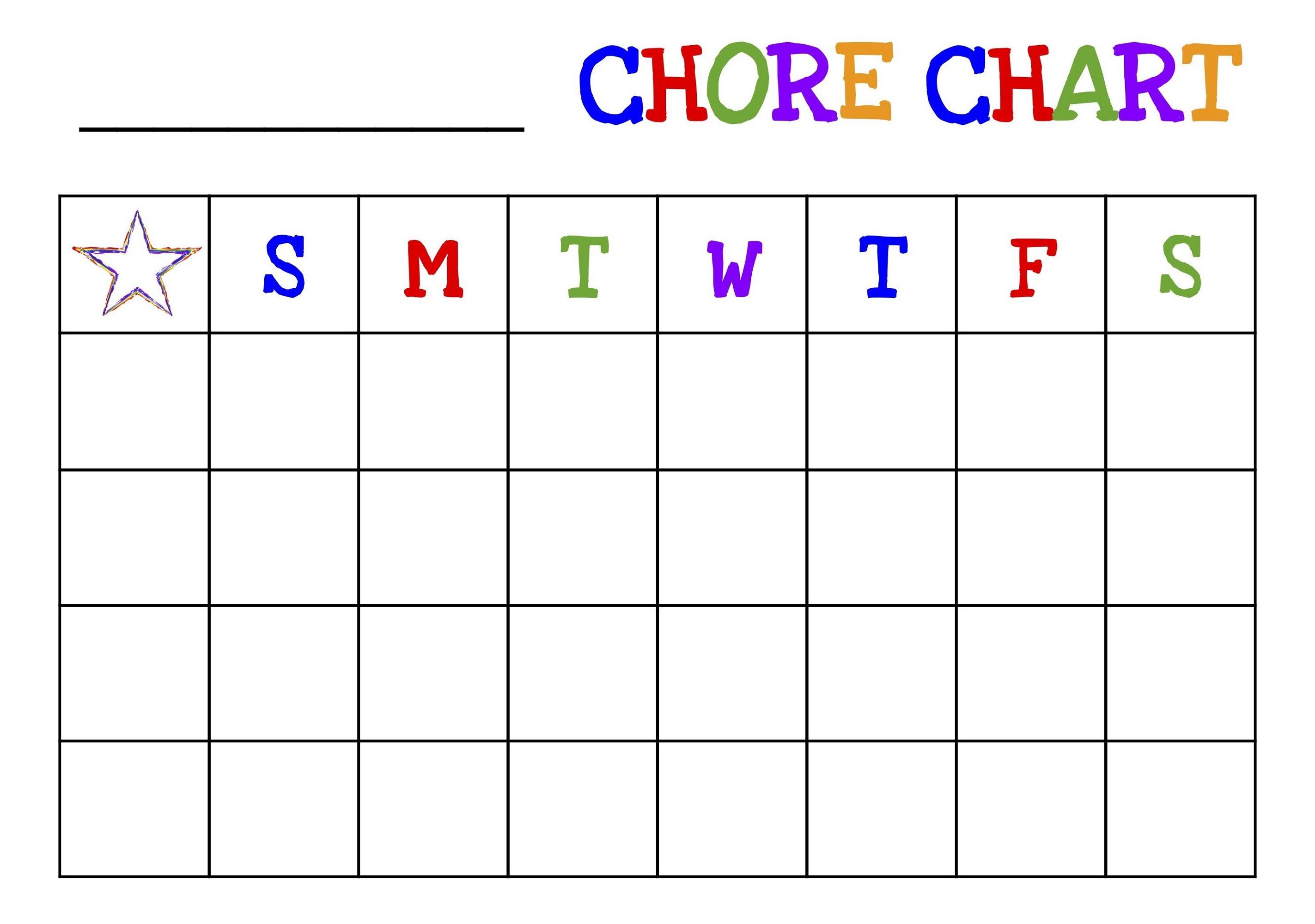 Childrens Reward Chart Star