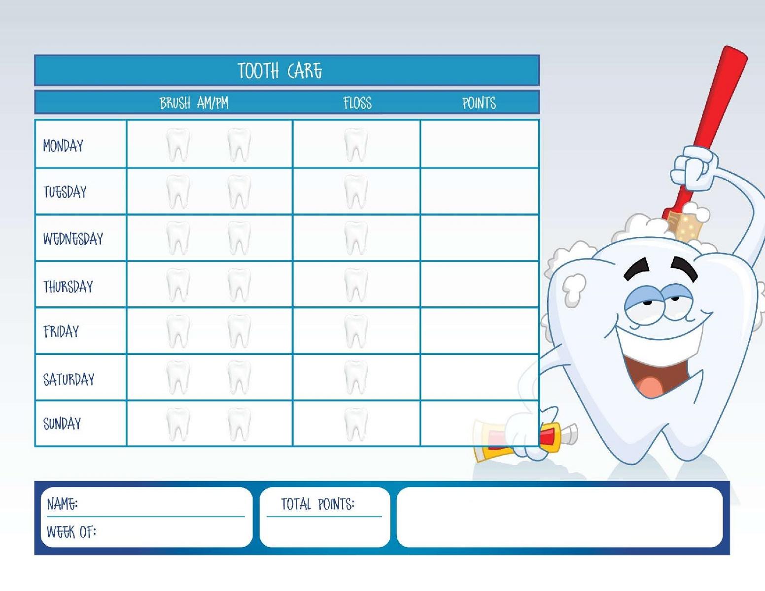 Childrens Reward Chart Tooth Brushing
