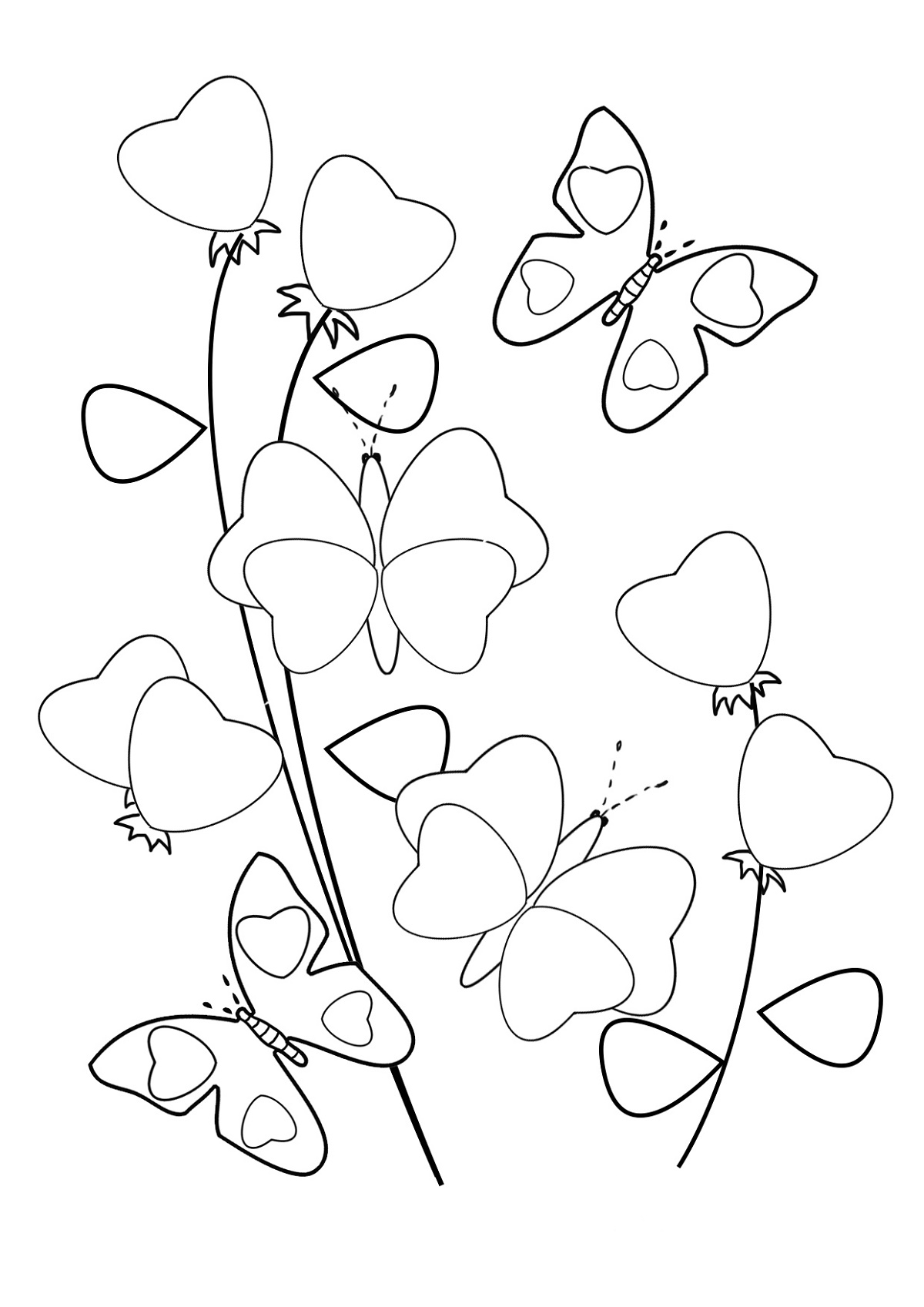 Coloring Pages Of Hearts And Flowers Butterflies