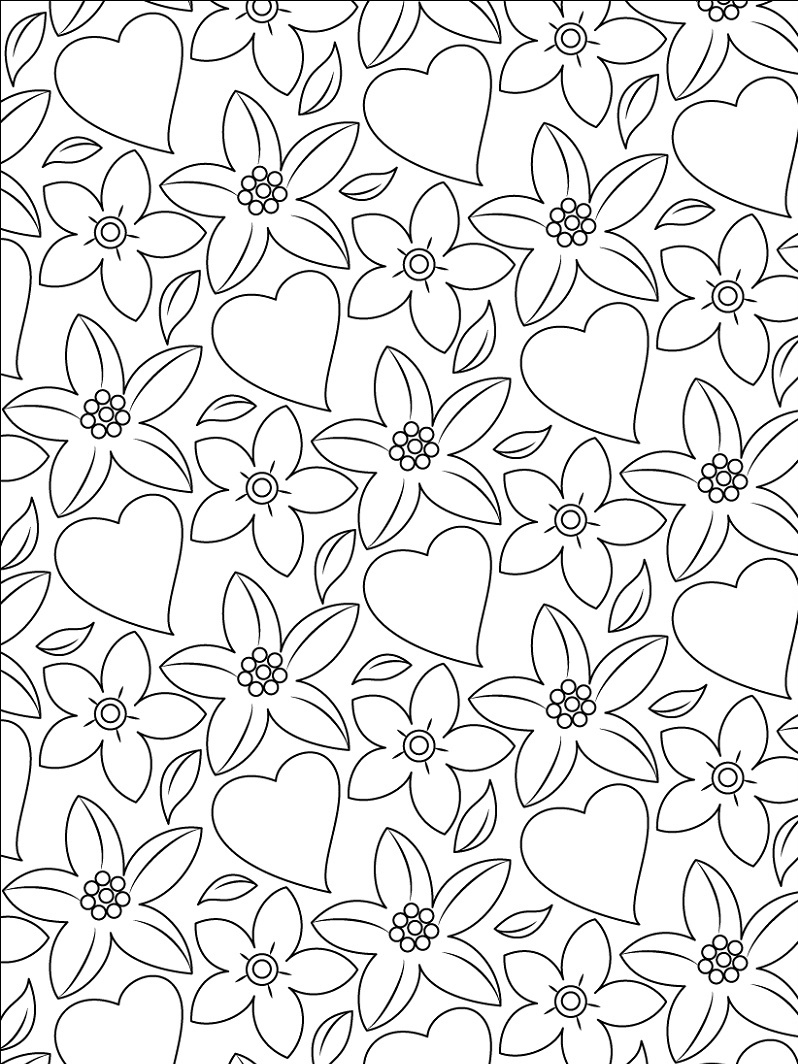 Coloring Pages Of Hearts And Flowers Pattern