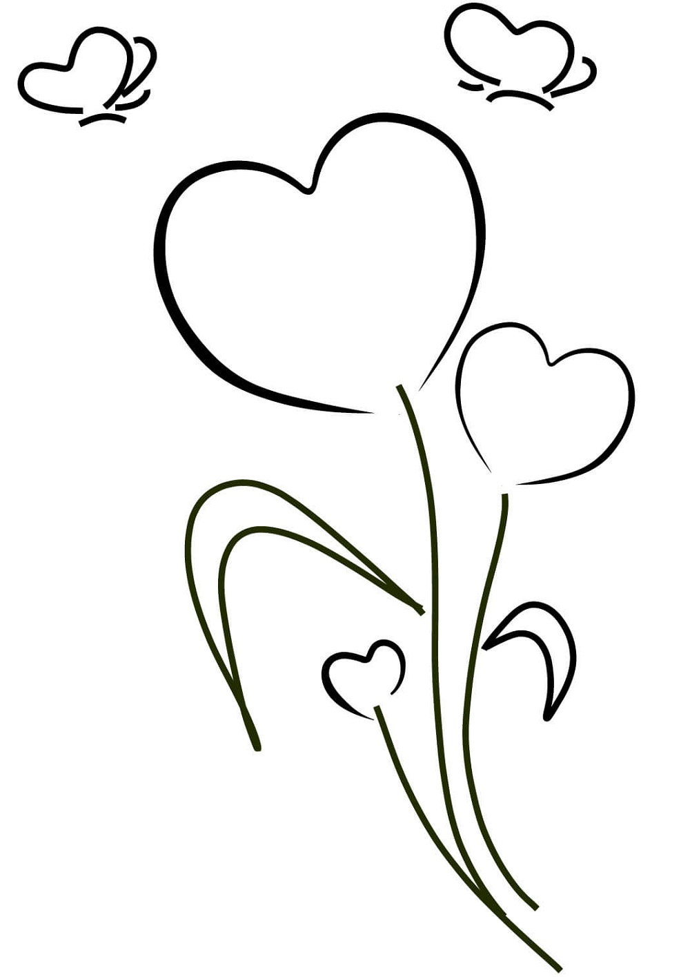 Coloring Pages Of Hearts And Flowers Printable