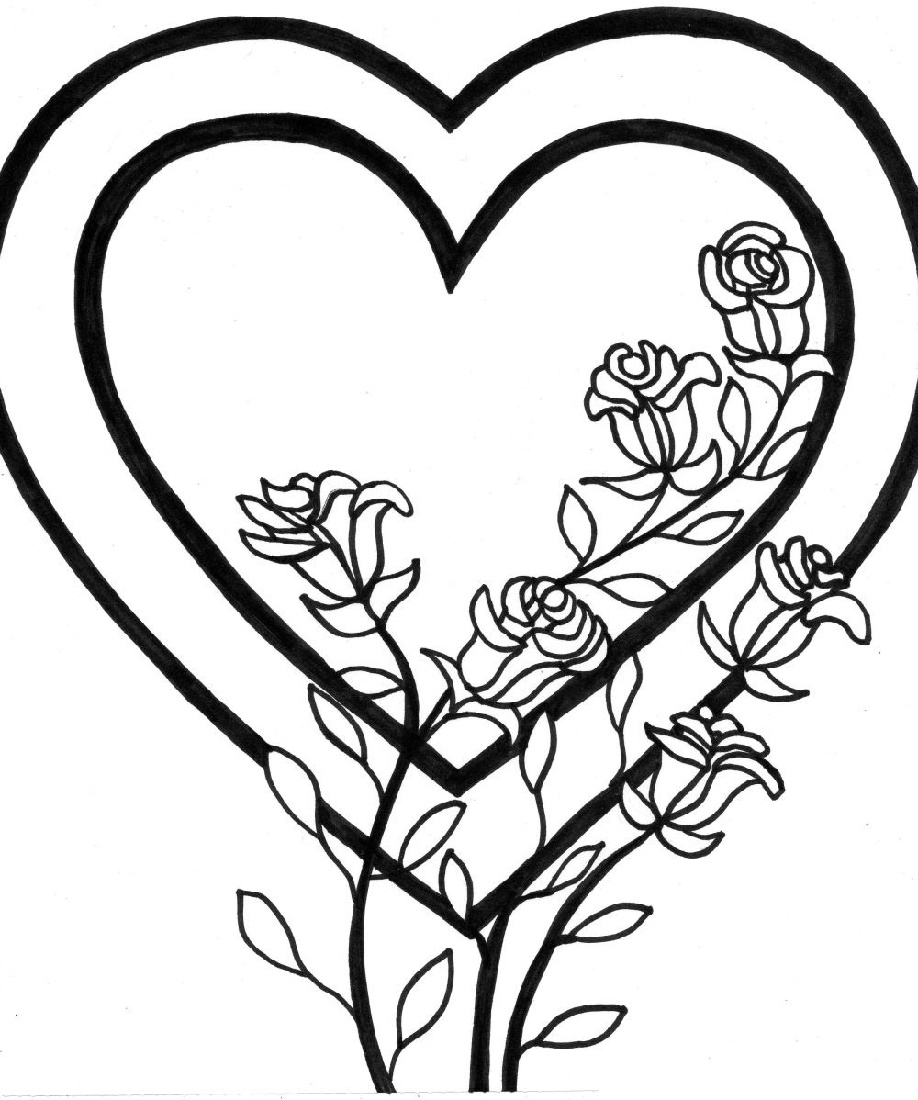 Coloring Pages Of Hearts And Flowers Roses