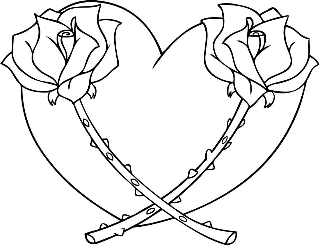 Coloring Pages Of Hearts And Flowers To Print