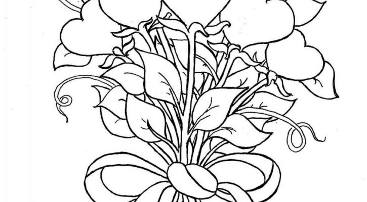 Coloring Pages Of Hearts And Flowers Valentines