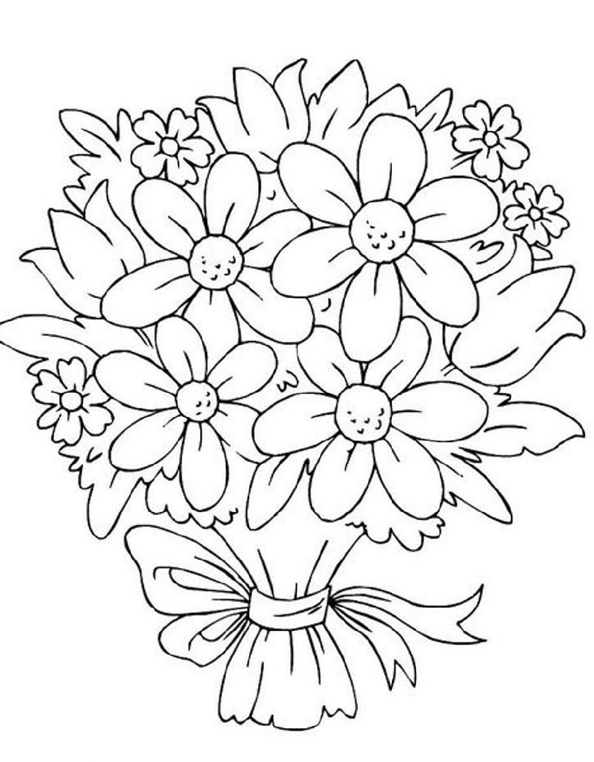 Coloring Pictures Of Flowers Bouquet