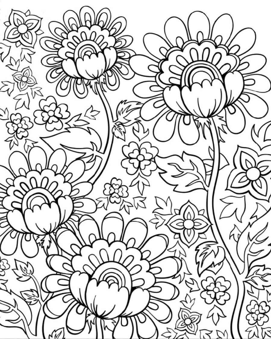 Coloring Pictures Of Flowers Doodle
