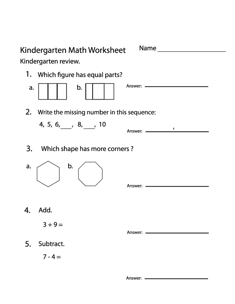 Educational Worksheets For Kindergarten Math