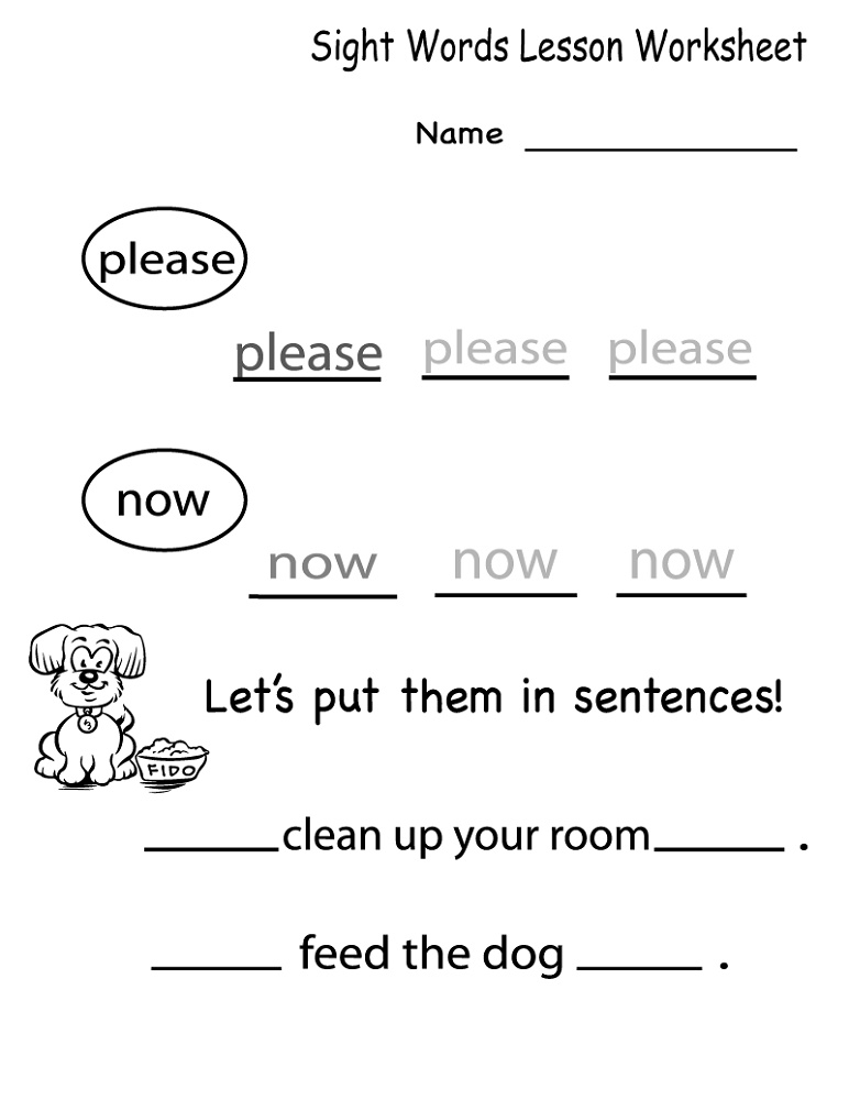 English For Kindergarten Free Worksheet Sight Words