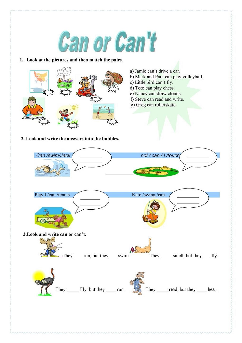 English Worksheets For Children Can or Cant