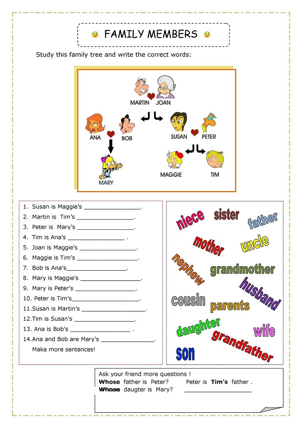 English Worksheets For Children Family Members