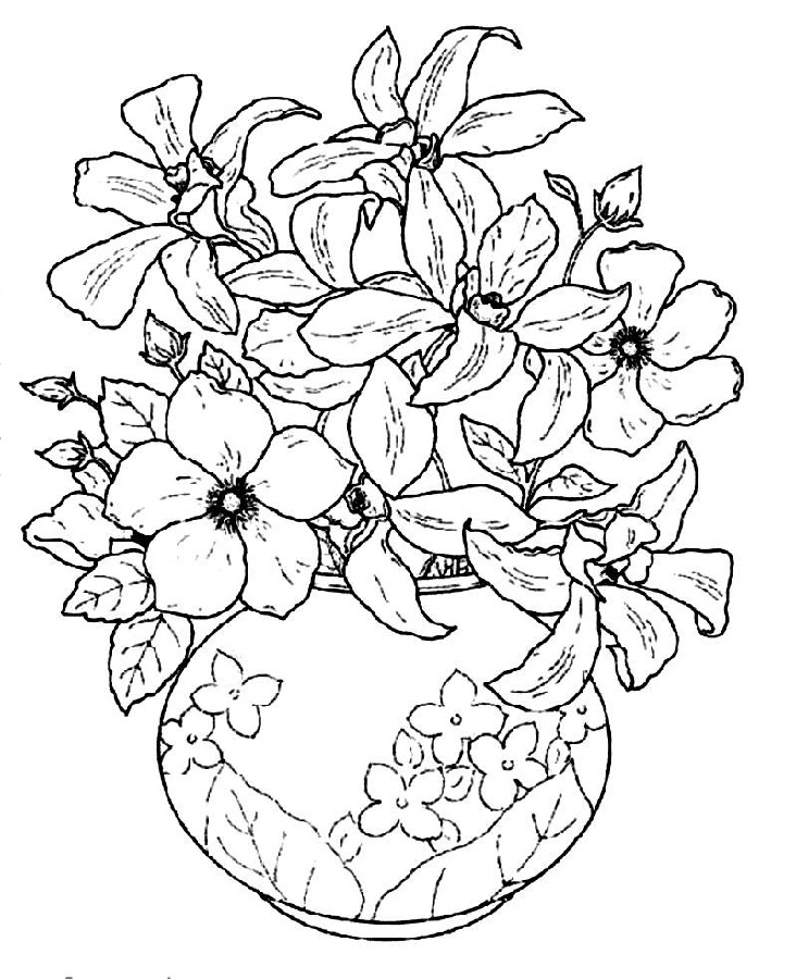 Flower Coloring Sheets Vase