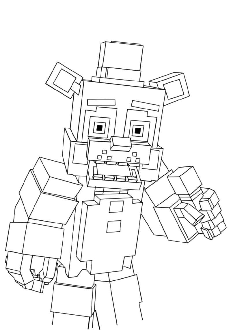 Fnaf Coloring Book Minecraft Freddy