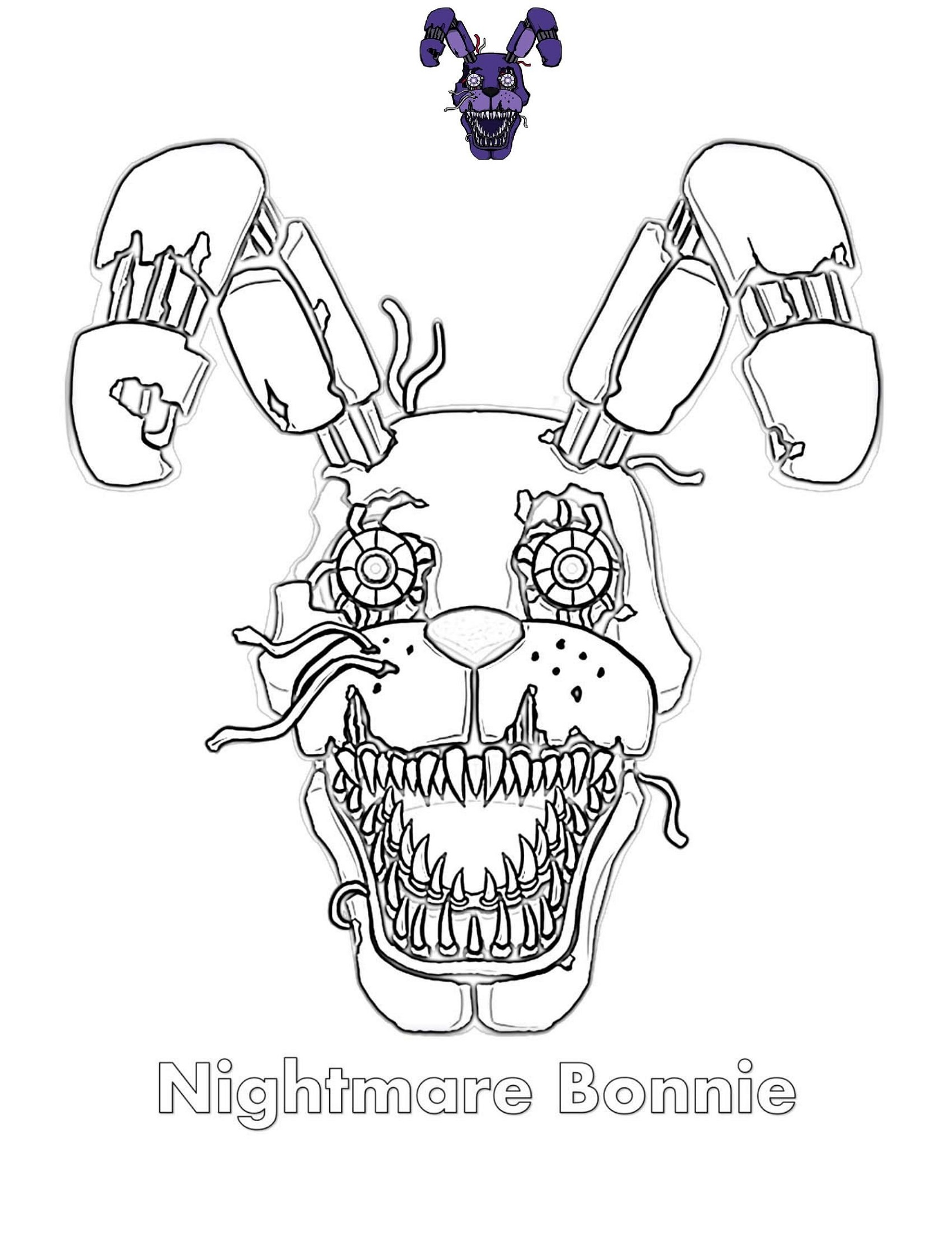 Fnaf Coloring Book Nightmare Bonnie