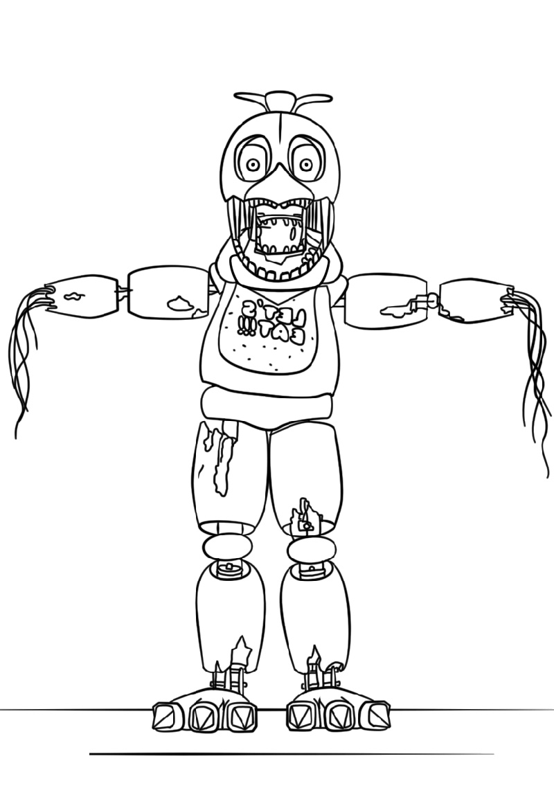 Fnaf Coloring Sheets Withered Chica