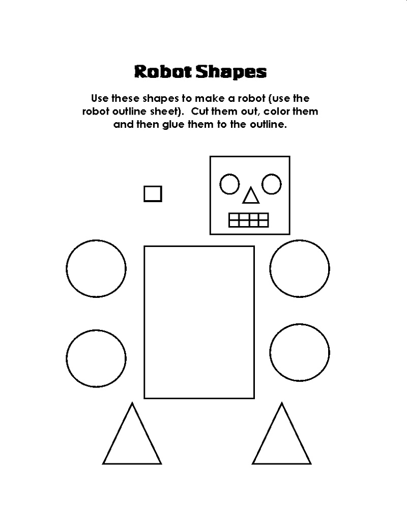 Free Printable Activities For Toddlers Robot Shapes