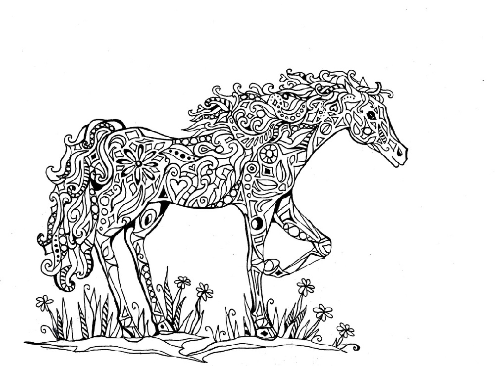 Hard Coloring Pages Of Animals Horse