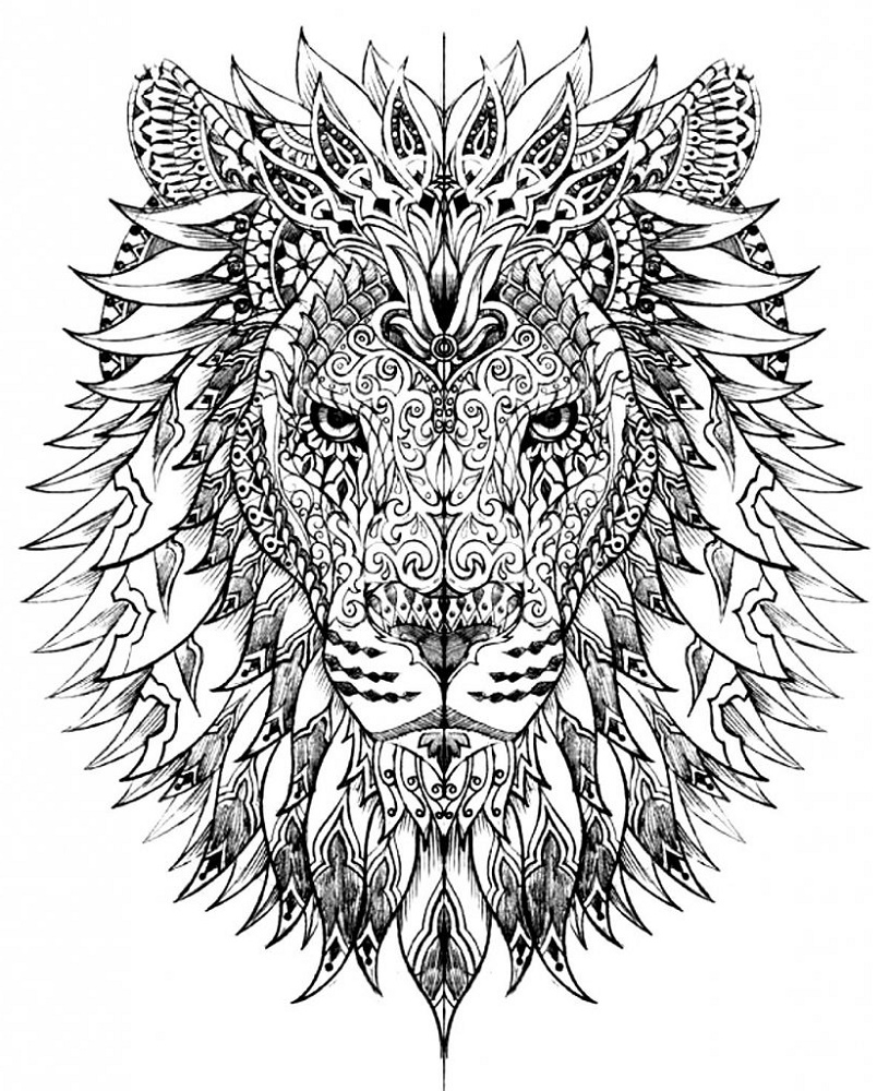 Hard-Coloring-Pages-Of-Animals-Lion
