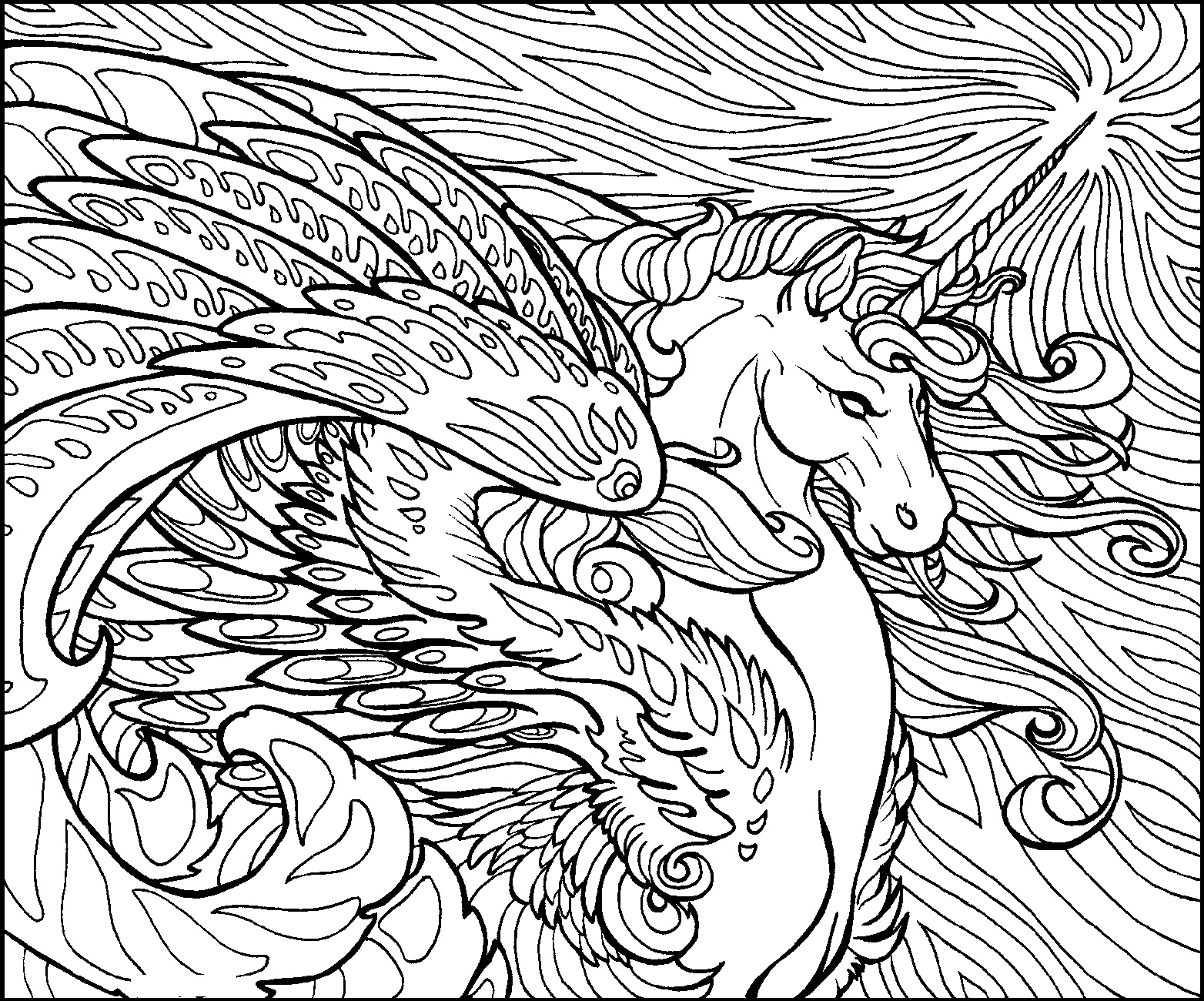 Hard Coloring Pages Of Animals Unicorn