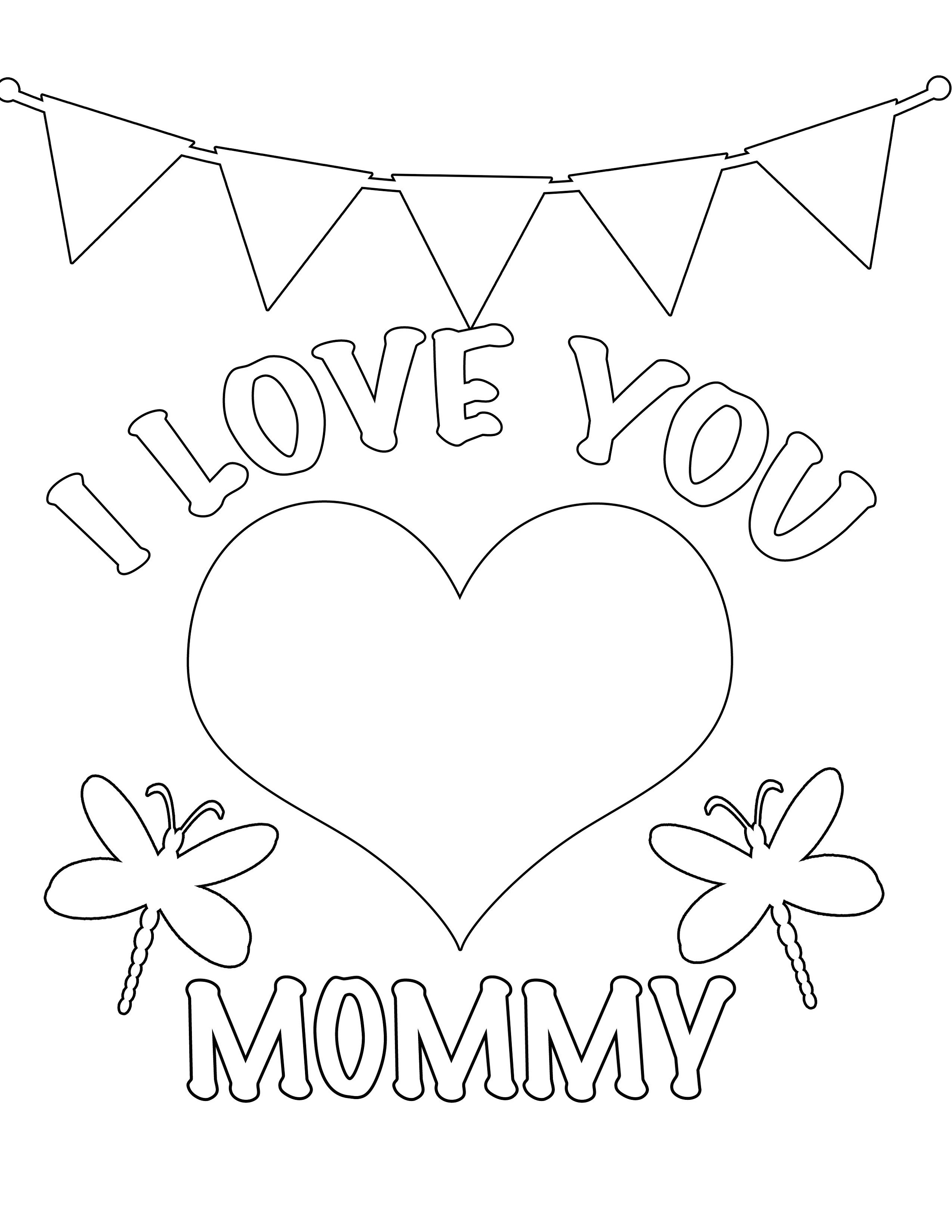 I Love You Mom Coloring Pages Easy