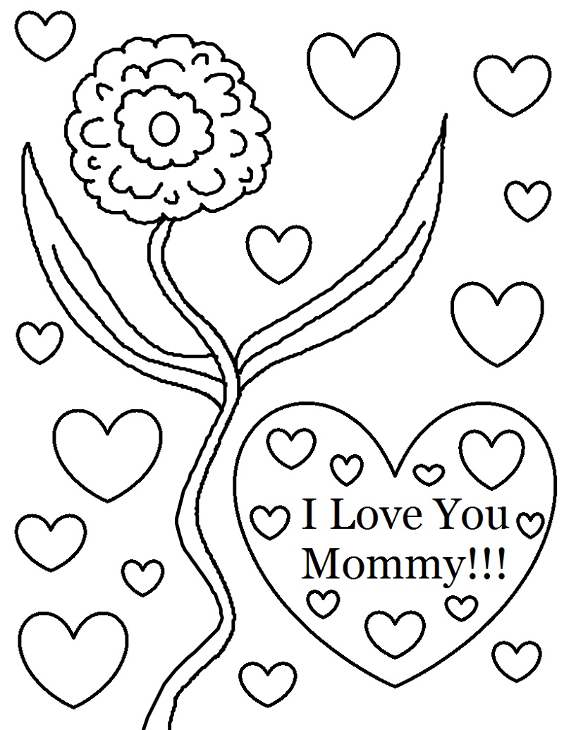 I Love You Mom Coloring Pages For Kids
