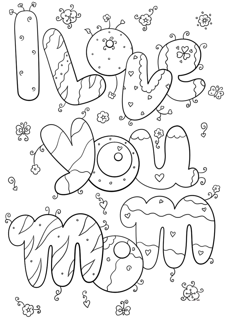 I Love You Mom Coloring Pages Free