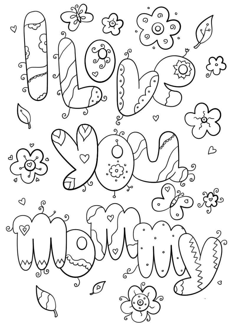 I Love You Mom Coloring Pages To Print