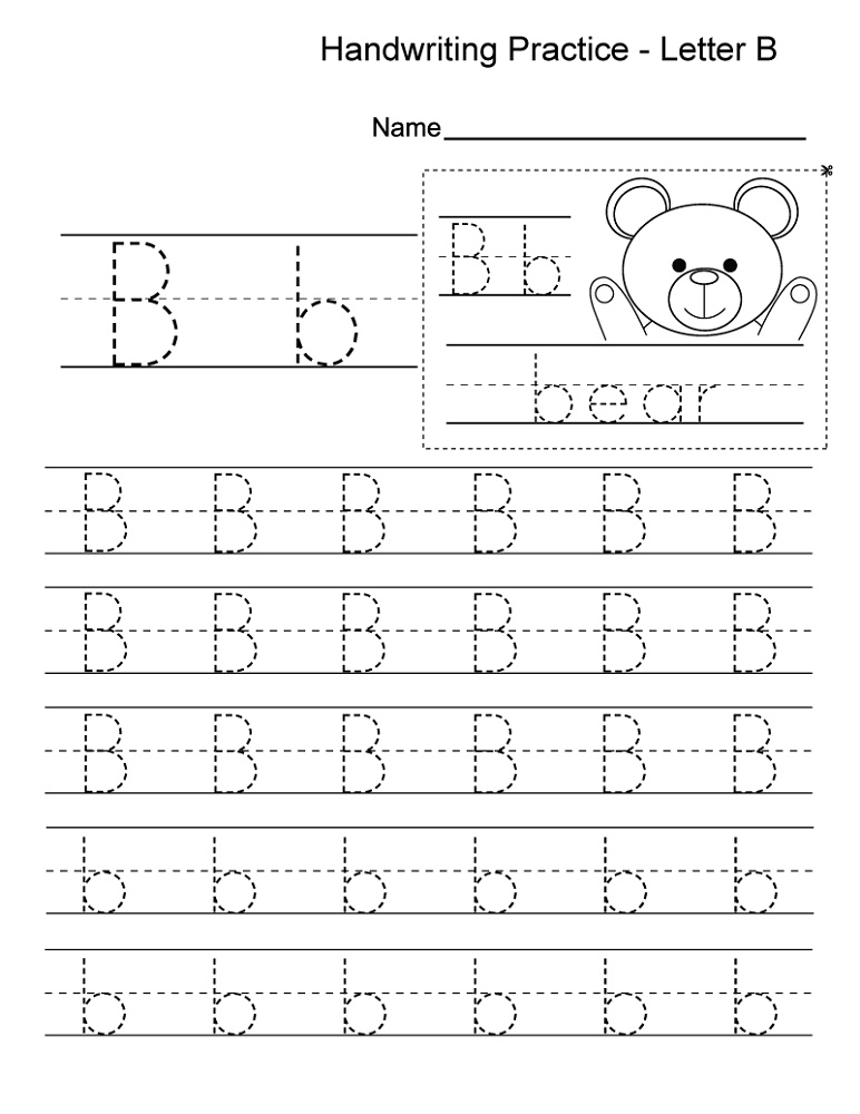 Kindergarten Practice Worksheets Letter B Writing