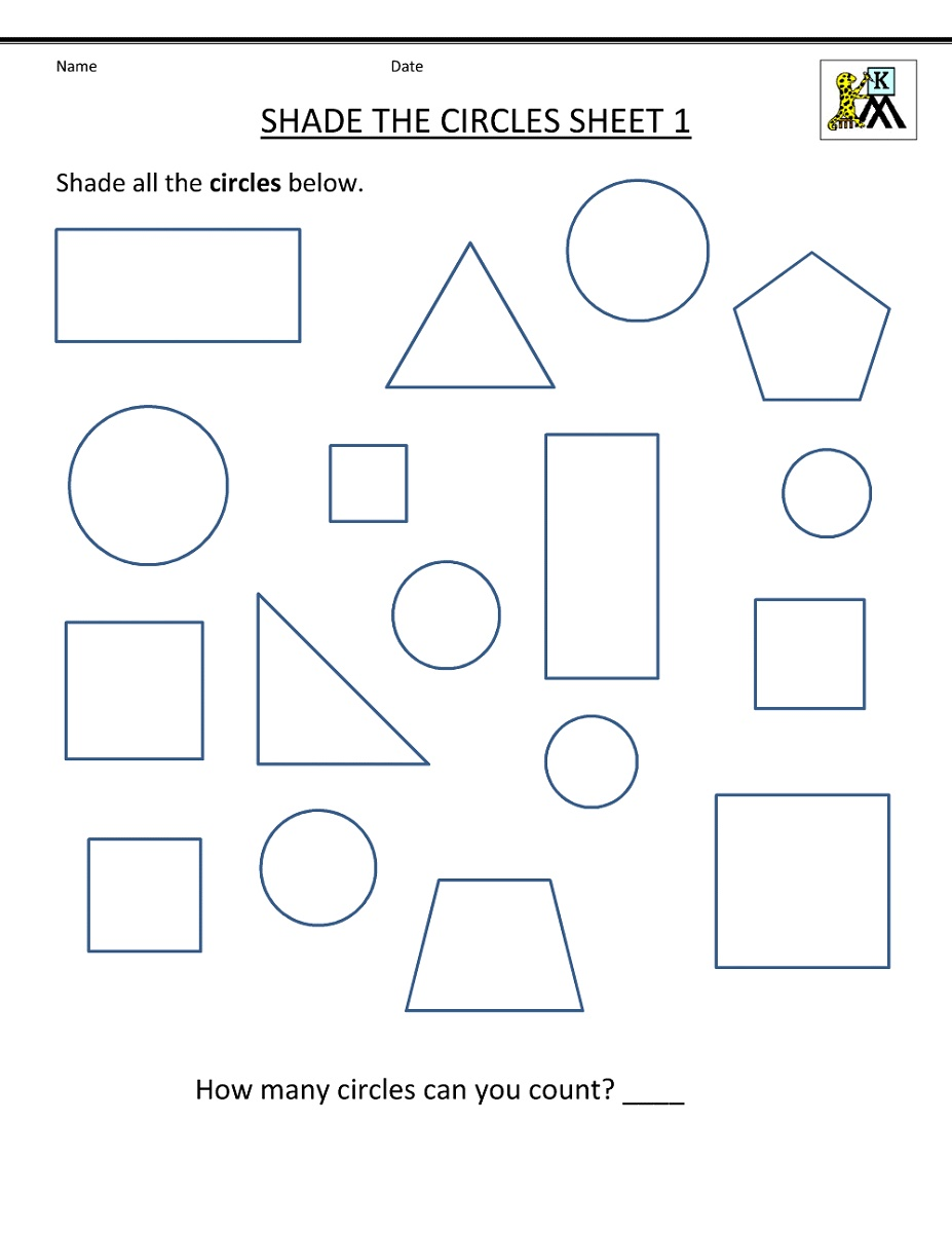 Kindergarten Practice Worksheets Shapes
