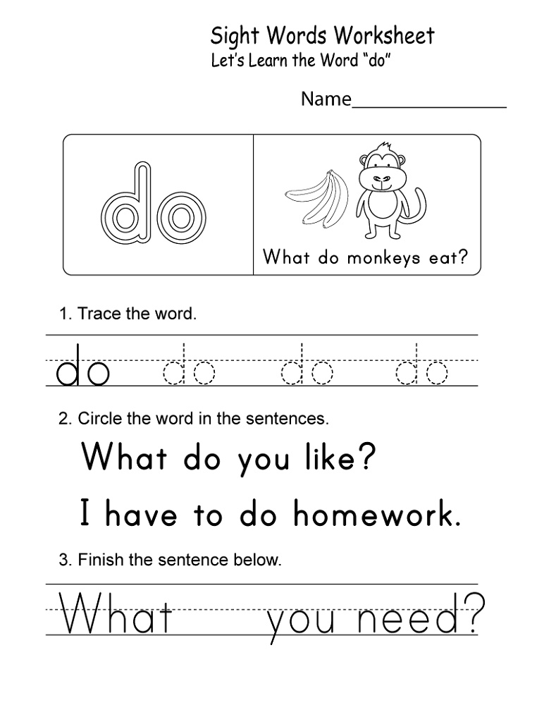 Kindergarten Practice Worksheets Sight Words