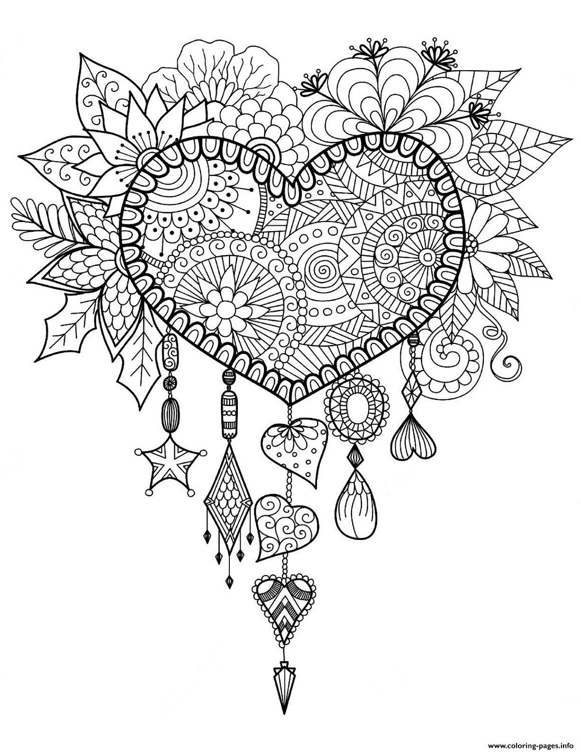Mandala Coloring Pages Heart