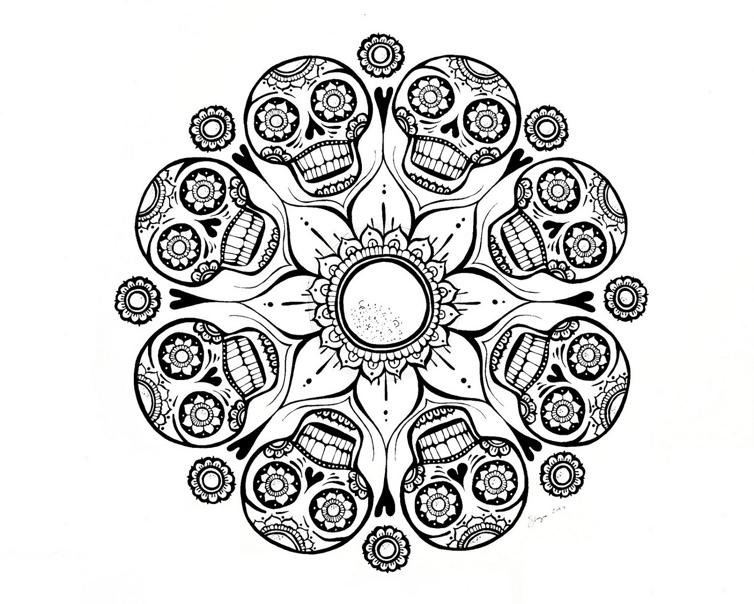 Mandala Coloring Pages Skull
