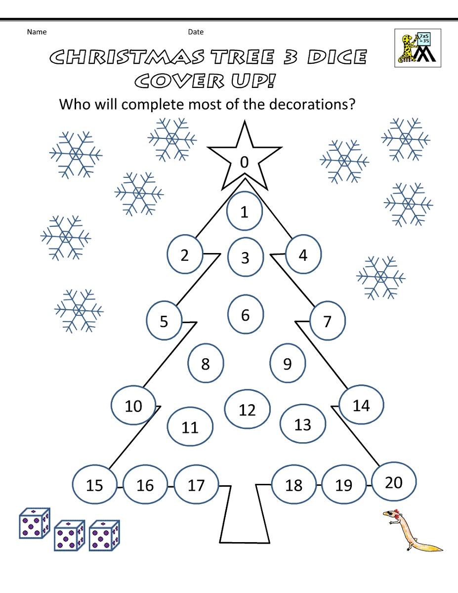Math Games Worksheets Christmas Tree