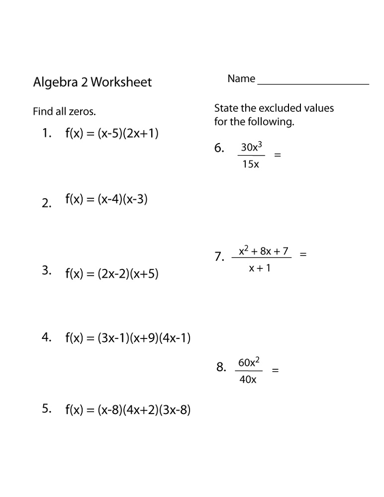 Math Worksheets For Adults Algebra Practice