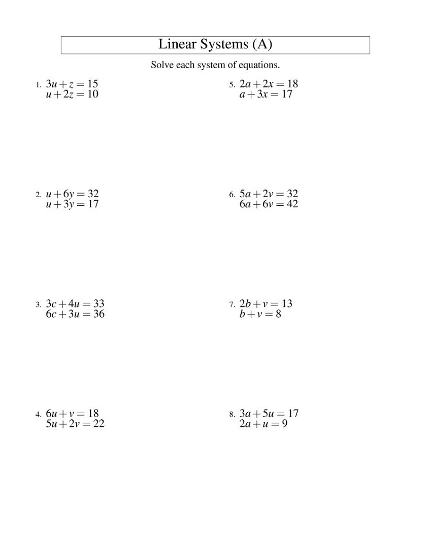 Math Worksheets For Adults Algebraic Equations