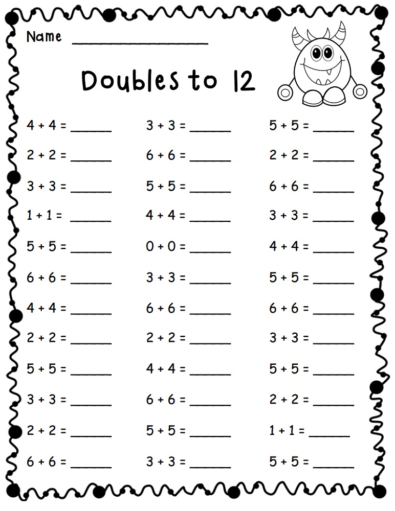 Math Worksheets For Grade 1 Doubles