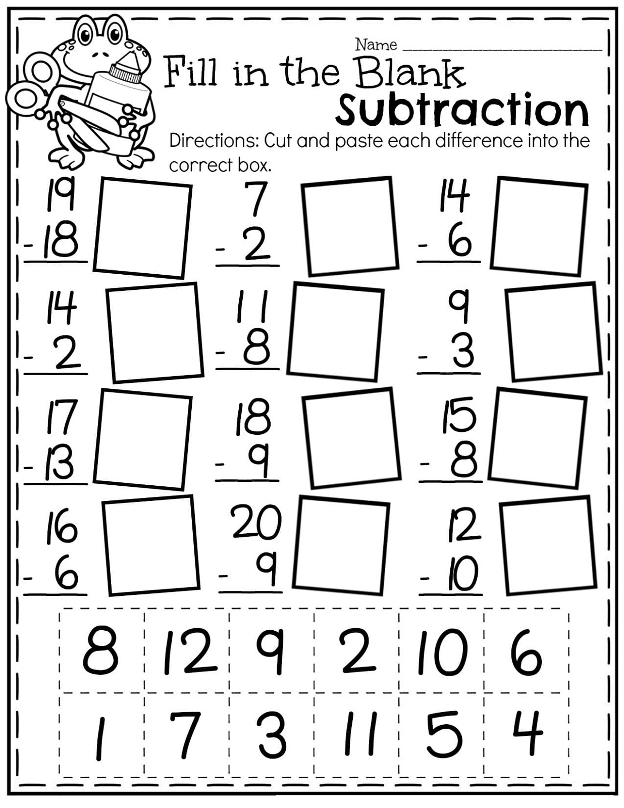 Math Worksheets For Grade 1 Subtraction
