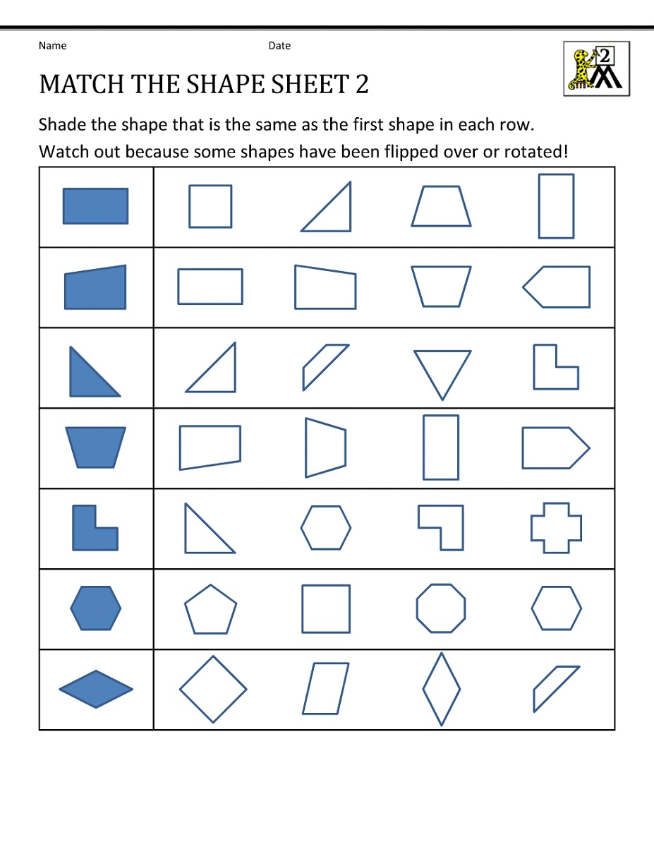 Math Worksheets For Grade 2 Geometry