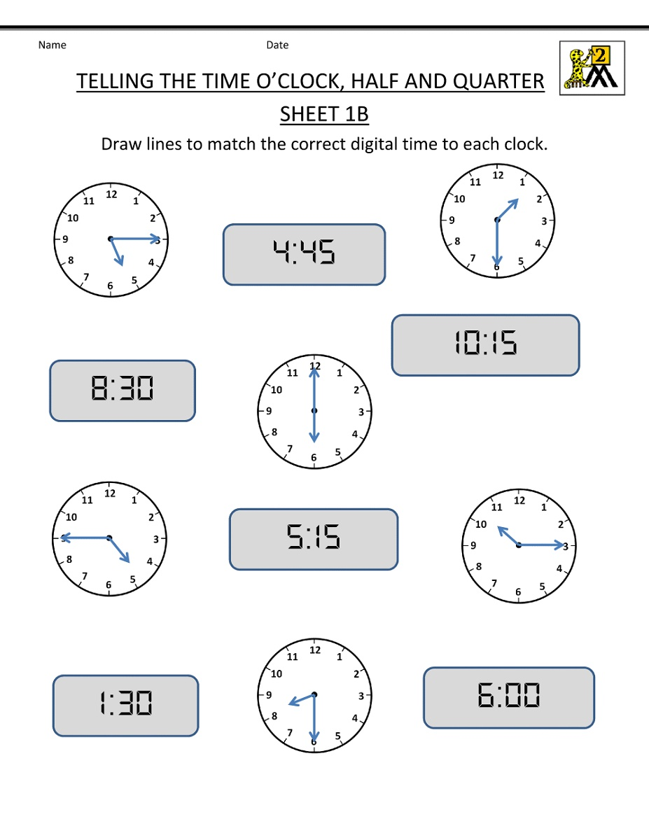 Math Worksheets For Grade 2 Time