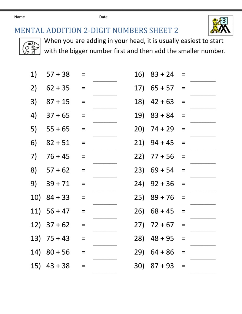 Math Worksheets For Grade 3 Addition