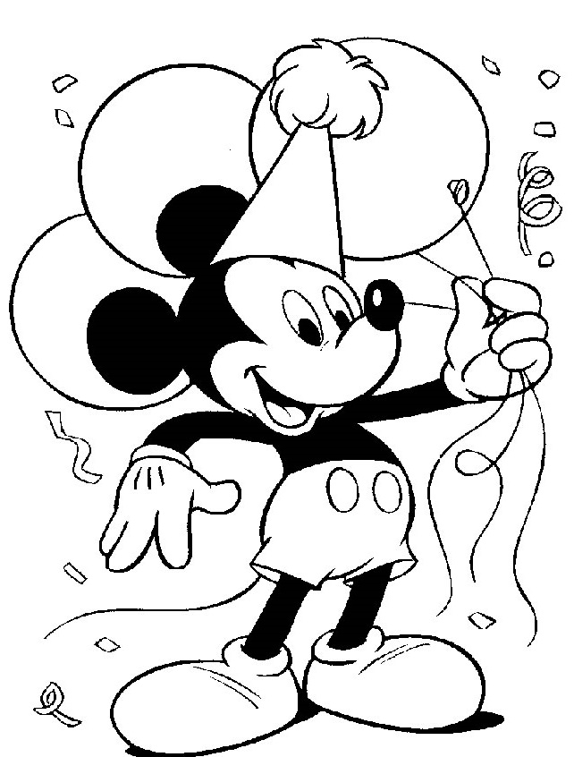 Mickey Mouse Birthday Coloring Pages Party