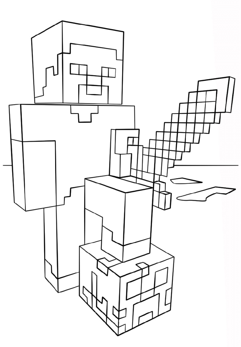 Minecraft Printable Coloring Pages Steve
