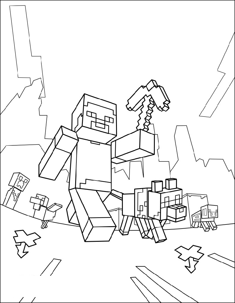 Minecraft Printable Coloring Pages Taking A Walk