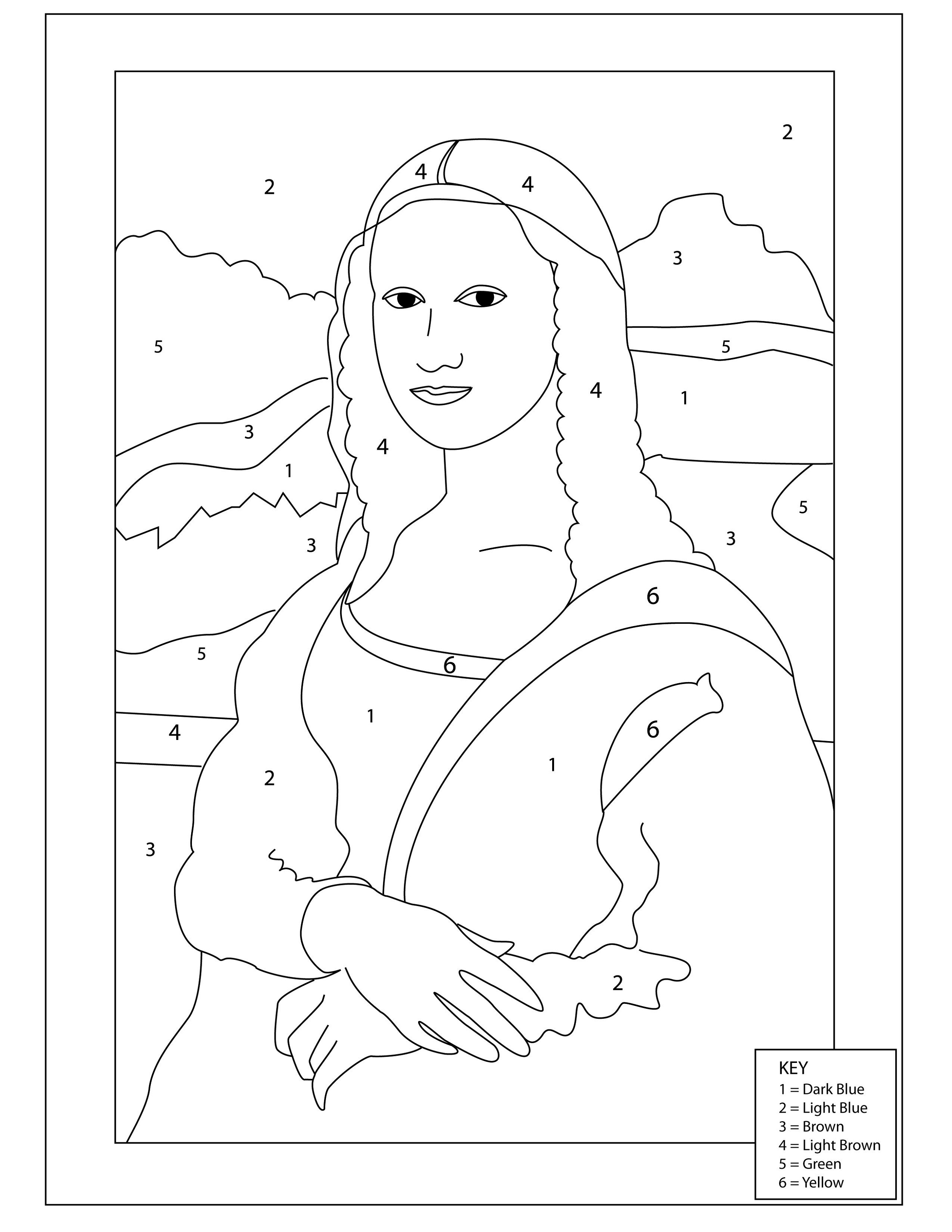 Mona Lisa Coloring Page By Number