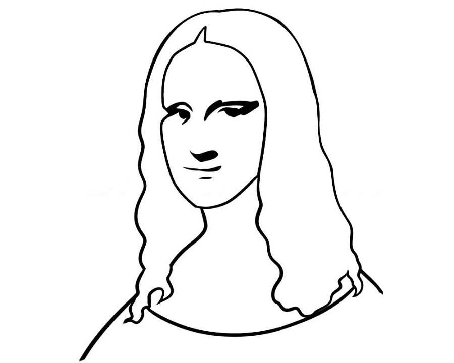 Mona Lisa Coloring Page Easy