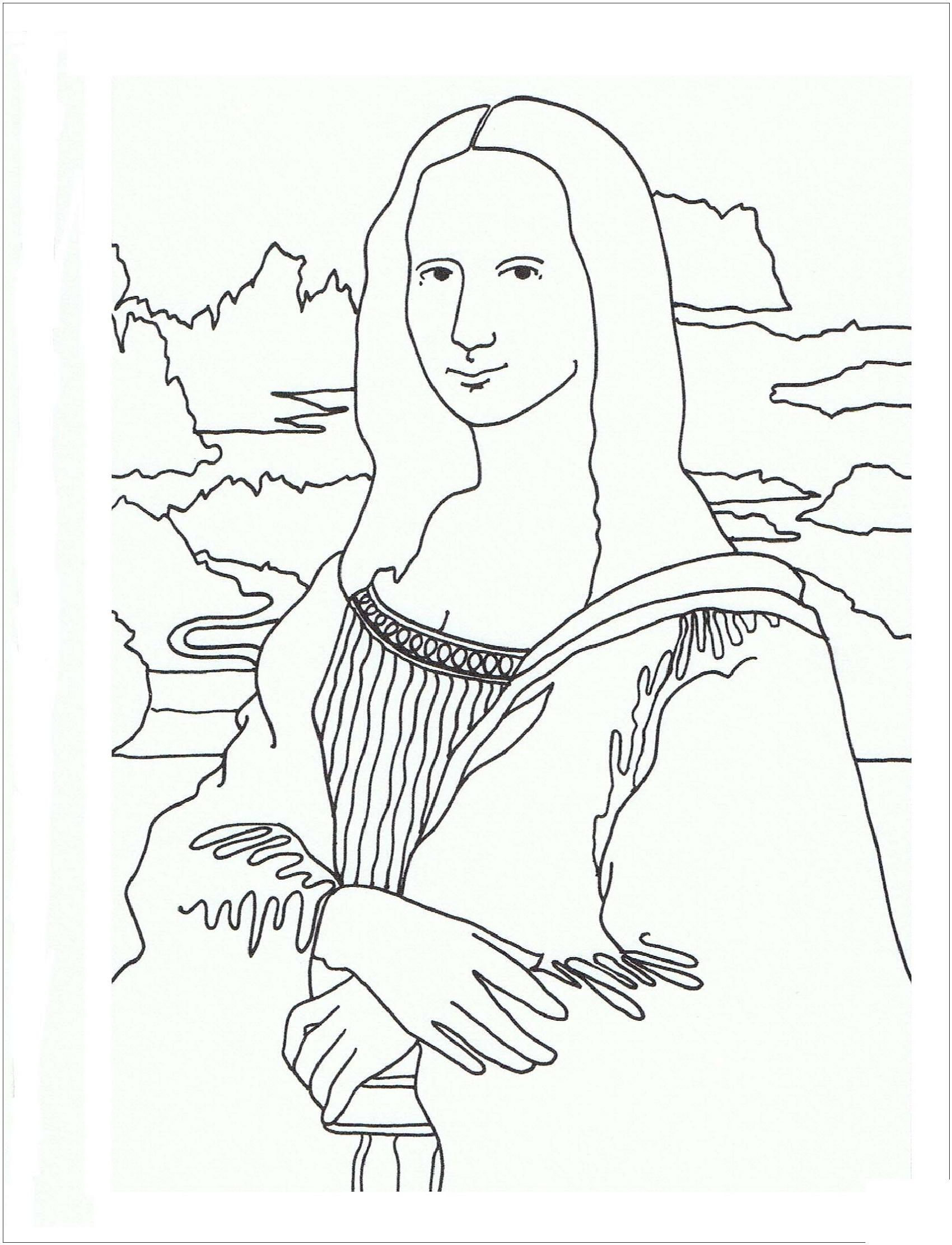 Mona Lisa Coloring Page Free