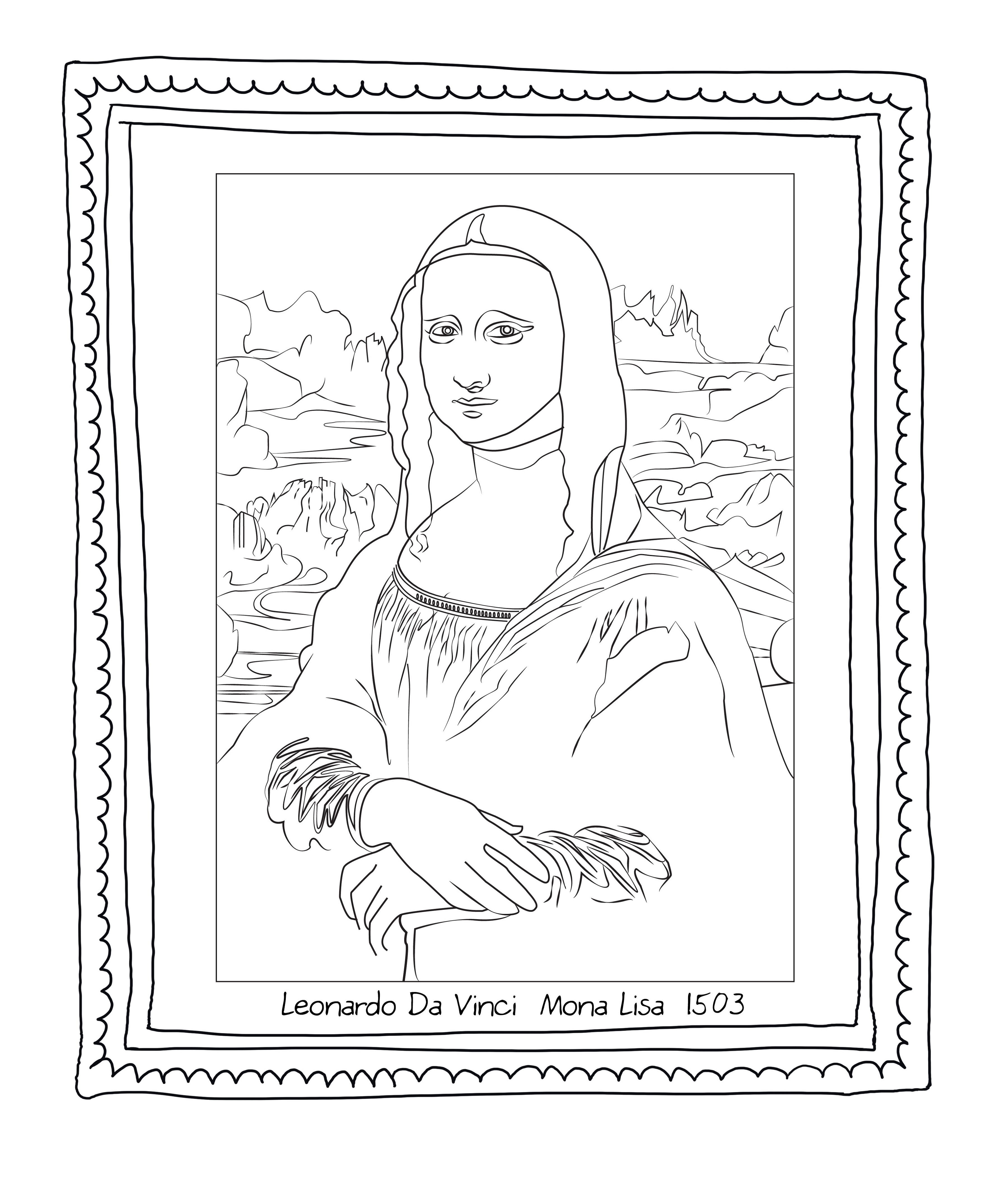 Mona Lisa Coloring Page Printable